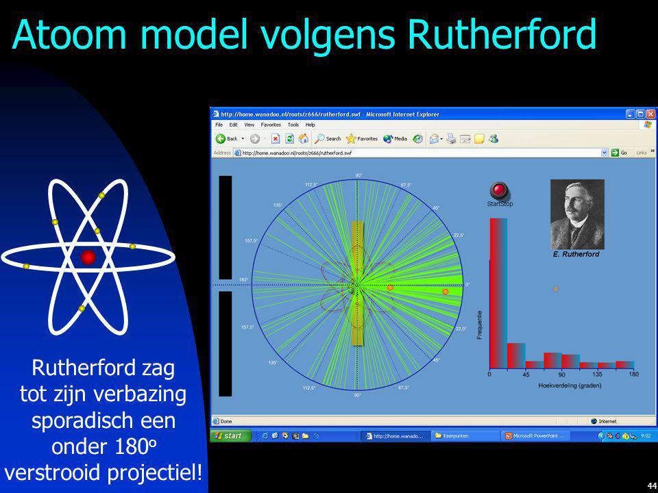 44 Atoom model volgens Rutherford Rutherford zag tot zijn verbazing sporadisch een onder 180 o verstrooid projectiel!