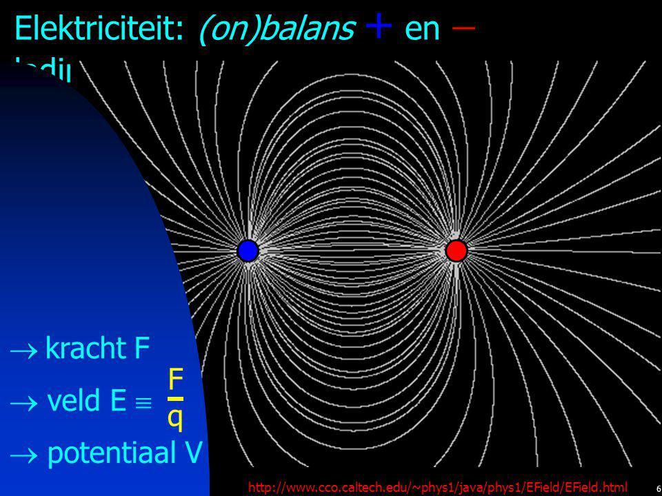 6 Elektriciteit: (on)balans + en  ladingen http://www.cco.caltech.edu/~phys1/java/phys1/EField/EField.html + + +  veld E   potentiaal V  kracht F