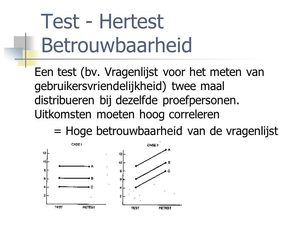 Inter-item Betrouwbaarheid Hierbij deel je een test (vragenlijst) in twee gelijke helften (achteraf!) en correleer je de uitkomsten op beide helften.