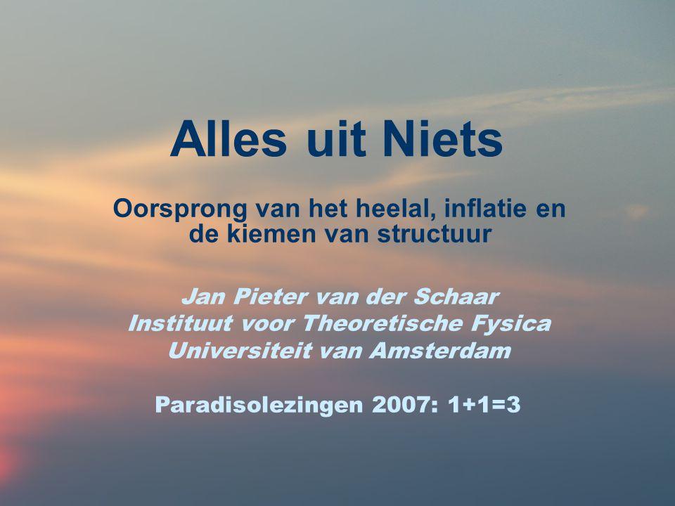 Alles uit Niets Ons zichtbare heelal: van Alles naar `Niets' Kosmologische parameters –Theorie en observatie –Donkere mysteries `Emergentie' of gewoon toeval.