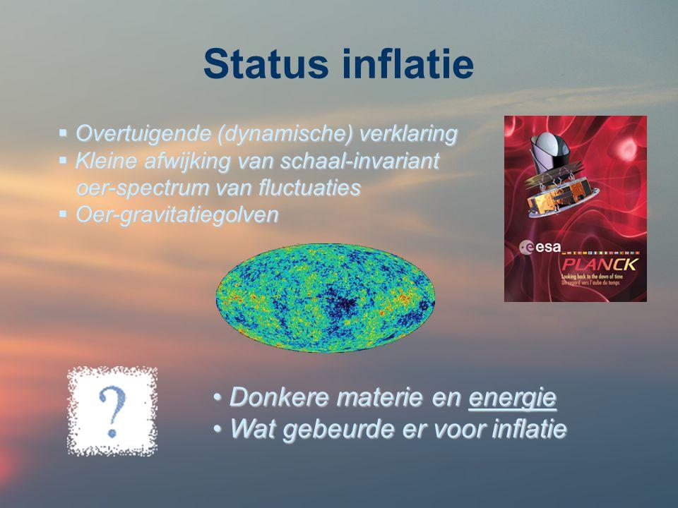 Status inflatie  Overtuigende (dynamische) verklaring  Kleine afwijking van schaal-invariant oer-spectrum van fluctuaties oer-spectrum van fluctuaties  Oer-gravitatiegolven Donkere materie en energie Donkere materie en energie Wat gebeurde er voor inflatie Wat gebeurde er voor inflatie