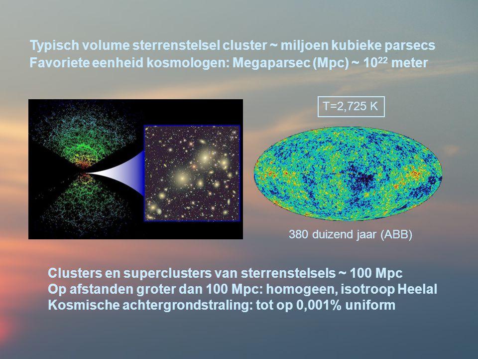 Typisch volume sterrenstelsel cluster ~ miljoen kubieke parsecs Favoriete eenheid kosmologen: Megaparsec (Mpc) ~ 10 22 meter Clusters en superclusters van sterrenstelsels ~ 100 Mpc Op afstanden groter dan 100 Mpc: homogeen, isotroop Heelal Kosmische achtergrondstraling: tot op 0,001% uniform 380 duizend jaar (ABB) T=2,725 K