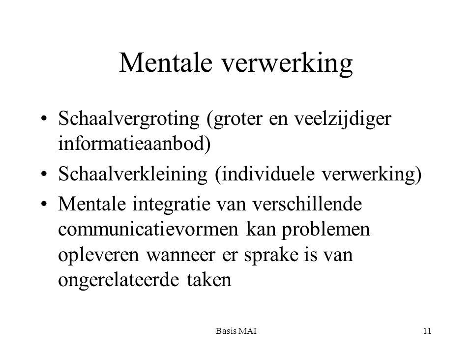 Basis MAI11 Mentale verwerking Schaalvergroting (groter en veelzijdiger informatieaanbod) Schaalverkleining (individuele verwerking) Mentale integratie van verschillende communicatievormen kan problemen opleveren wanneer er sprake is van ongerelateerde taken