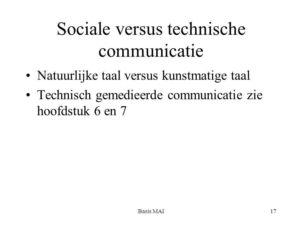Basis MAI17 Sociale versus technische communicatie Natuurlijke taal versus kunstmatige taal Technisch gemedieerde communicatie zie hoofdstuk 6 en 7