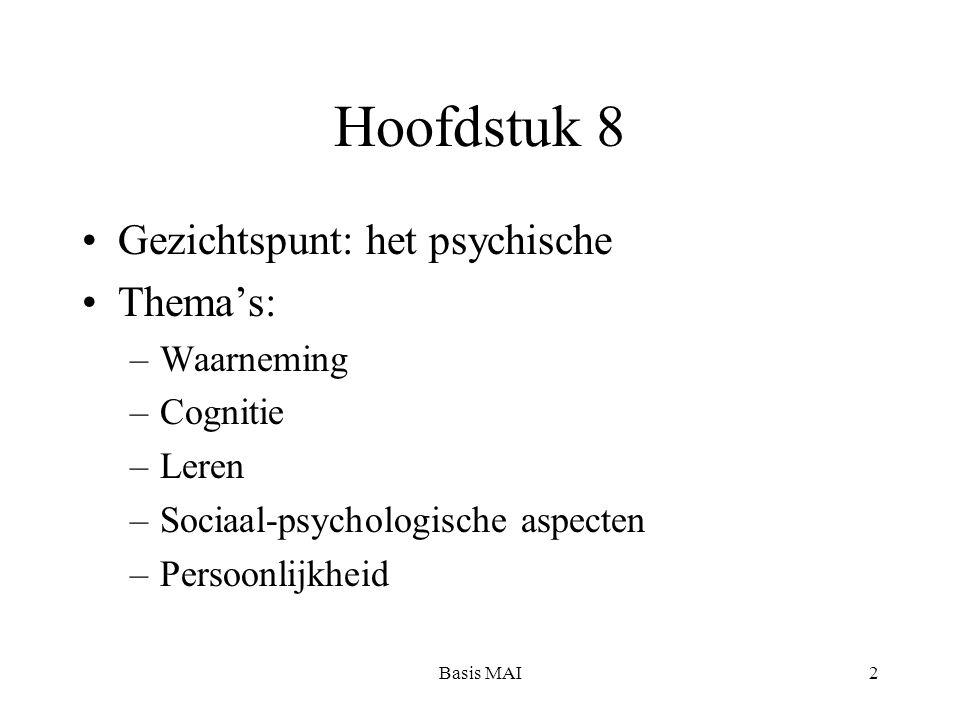 Basis MAI2 Hoofdstuk 8 Gezichtspunt: het psychische Thema's: –Waarneming –Cognitie –Leren –Sociaal-psychologische aspecten –Persoonlijkheid