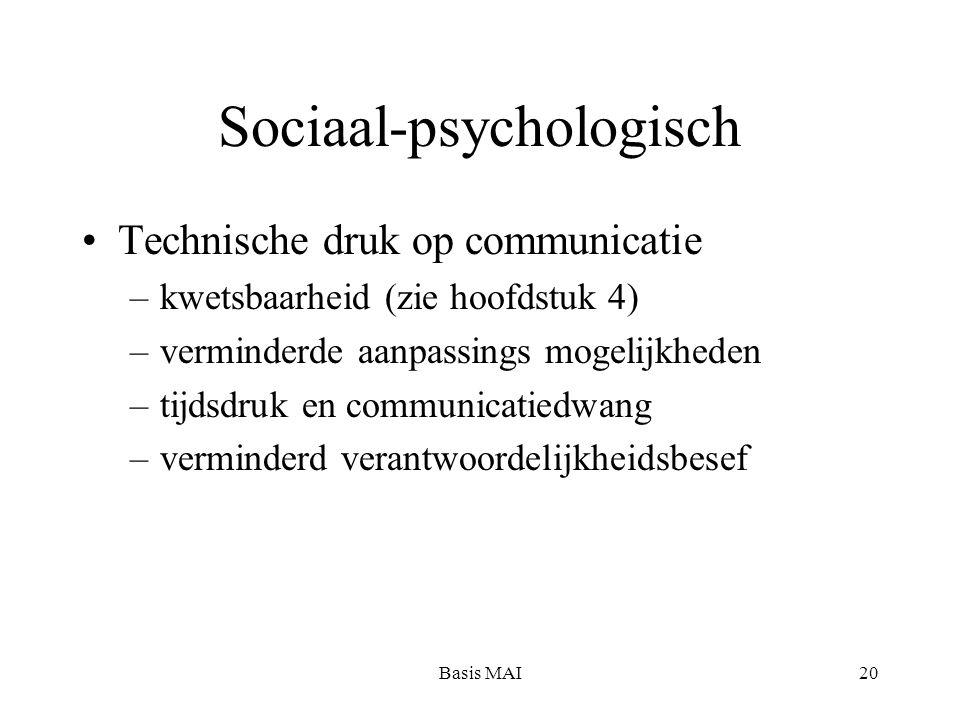 Basis MAI20 Sociaal-psychologisch Technische druk op communicatie –kwetsbaarheid (zie hoofdstuk 4) –verminderde aanpassings mogelijkheden –tijdsdruk en communicatiedwang –verminderd verantwoordelijkheidsbesef