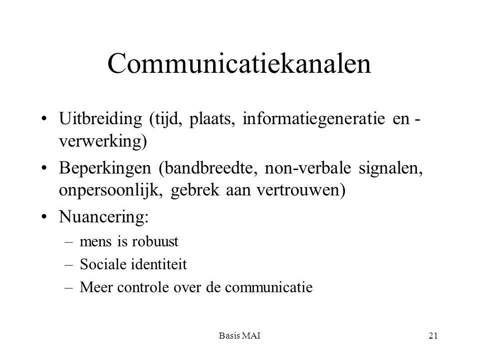 Basis MAI21 Communicatiekanalen Uitbreiding (tijd, plaats, informatiegeneratie en - verwerking) Beperkingen (bandbreedte, non-verbale signalen, onpersoonlijk, gebrek aan vertrouwen) Nuancering: –mens is robuust –Sociale identiteit –Meer controle over de communicatie