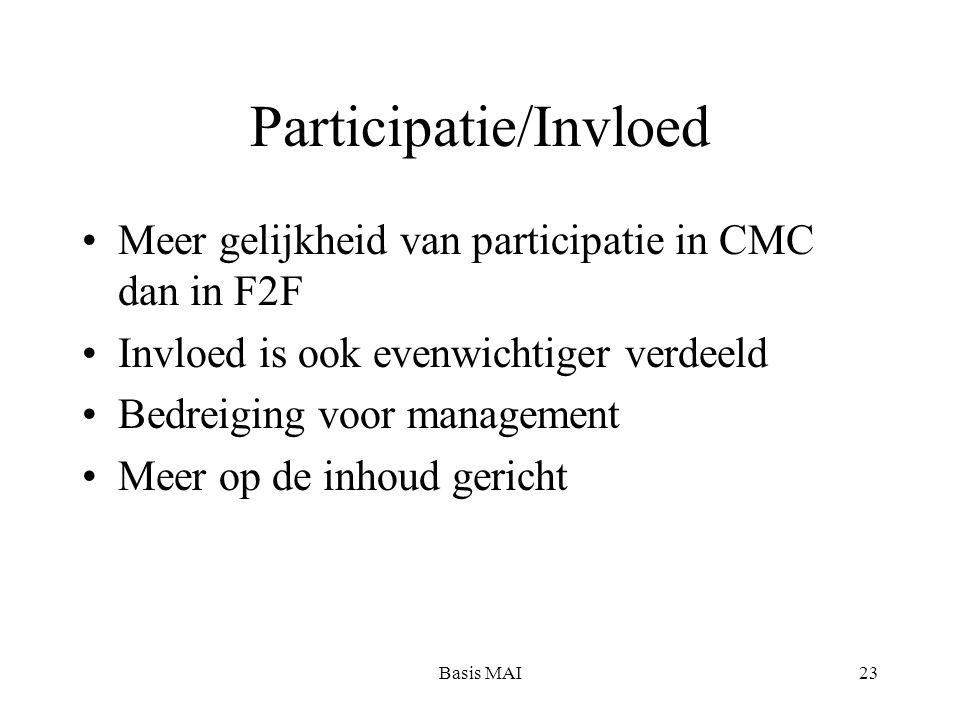 Basis MAI23 Participatie/Invloed Meer gelijkheid van participatie in CMC dan in F2F Invloed is ook evenwichtiger verdeeld Bedreiging voor management Meer op de inhoud gericht