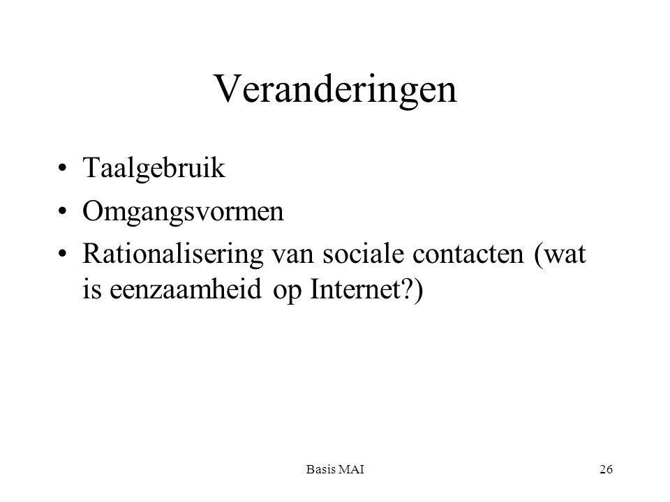 Basis MAI26 Veranderingen Taalgebruik Omgangsvormen Rationalisering van sociale contacten (wat is eenzaamheid op Internet?)