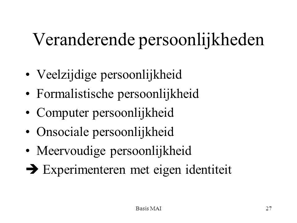 Basis MAI27 Veranderende persoonlijkheden Veelzijdige persoonlijkheid Formalistische persoonlijkheid Computer persoonlijkheid Onsociale persoonlijkheid Meervoudige persoonlijkheid  Experimenteren met eigen identiteit