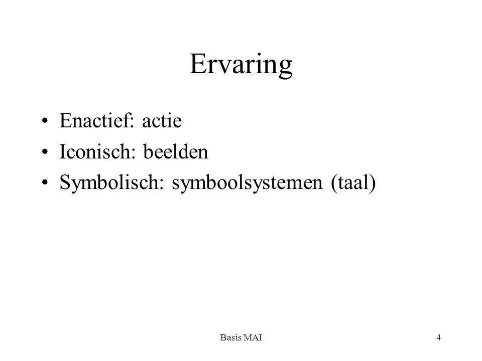 Basis MAI4 Ervaring Enactief: actie Iconisch: beelden Symbolisch: symboolsystemen (taal)