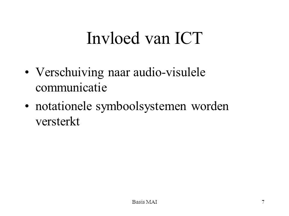 Basis MAI7 Invloed van ICT Verschuiving naar audio-visulele communicatie notationele symboolsystemen worden versterkt