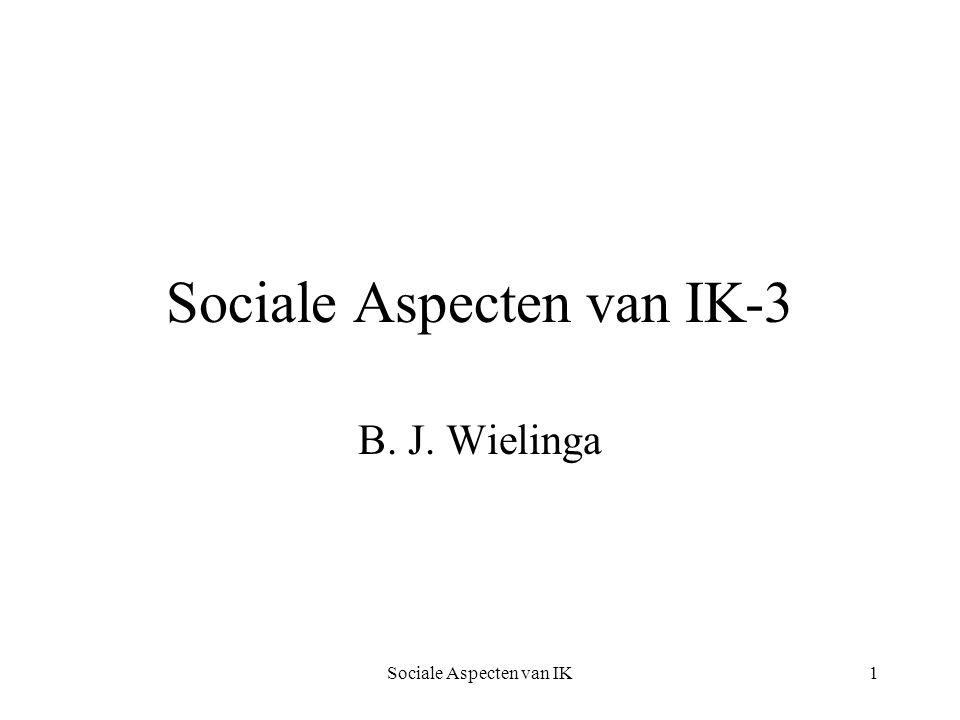Sociale Aspecten van IK12 New Economy Sterk: permanente stijging van productiviteit Zwak: tijdelijke verhoging van groei en innovatie: informatie- of netwerkeconomie door innovaties Van Dijk onderschrijft de zwakke versie, niet de sterke.