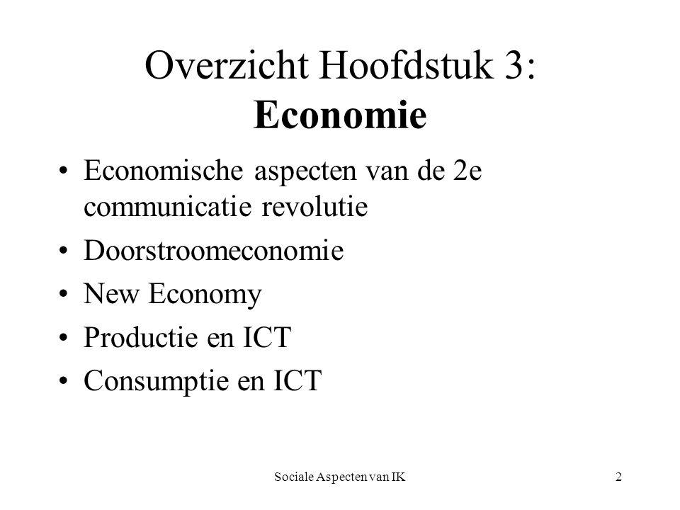 Sociale Aspecten van IK13 Kenmerken van informatie- economie Hoge ontwikkelkosten, lage (re)productiekosten Informatie is een ervaringsgoed Bijzonder product Hoge overstapkosten Schaal van netwerken maakt ze voordeliger