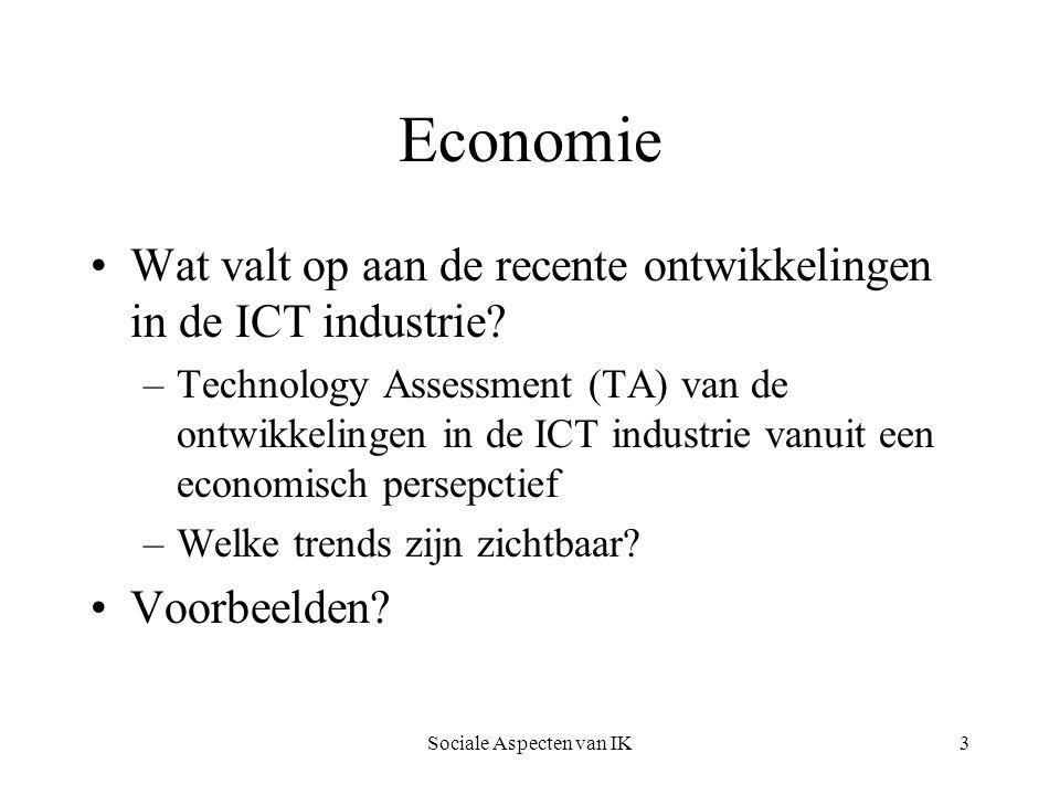 Sociale Aspecten van IK4 Economie Wat valt op aan de recente ontwikkelingen.