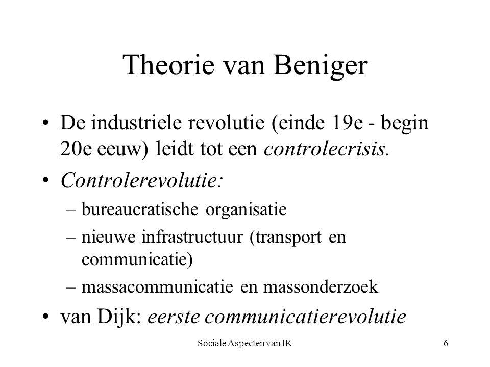 Sociale Aspecten van IK7 Van Dijk 2e controlecrisis: –verstopping van de infrastructuur –bureaucratie bereikt haar grenzen –van massa naar individu => 2e communicatierevolutie Doorstroomeconomie