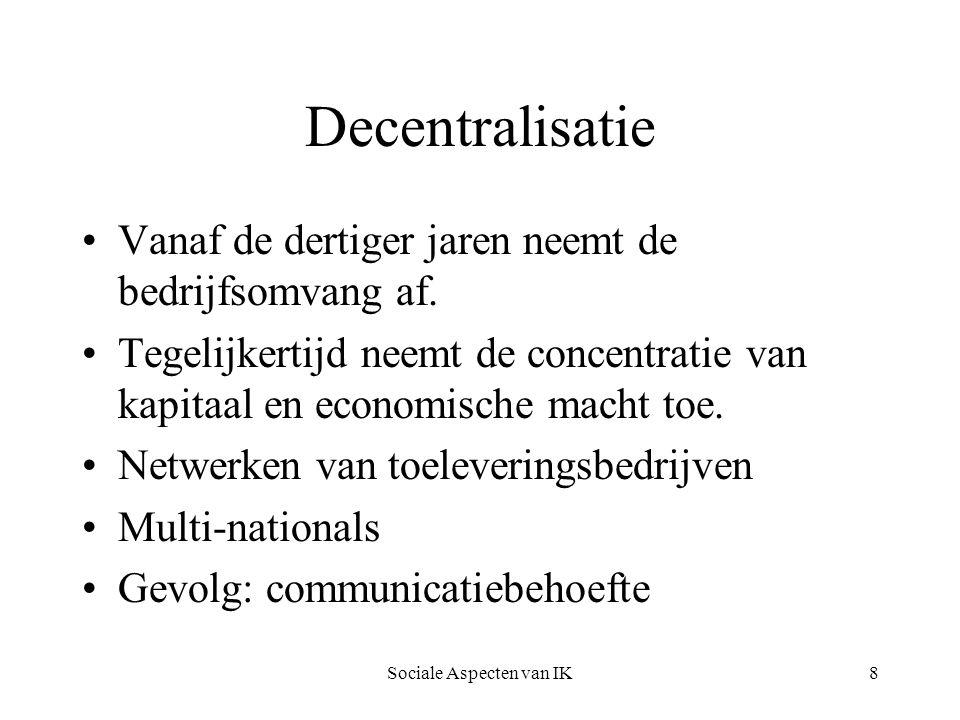 Sociale Aspecten van IK29 Falen van nieuwe media Domesticatie Aanbodsmentaliteit Geen gebruikersparticipatie bij technisch ontwerp Acceptatie is geen technische, maar een sociaal culturele zaak (context) Toegevoegde waarde moet duidelijk zijn