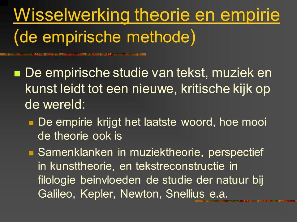 Wisselwerking theorie en empirie ( de empirische methode ) De empirische studie van tekst, muziek en kunst leidt tot een nieuwe, kritische kijk op de