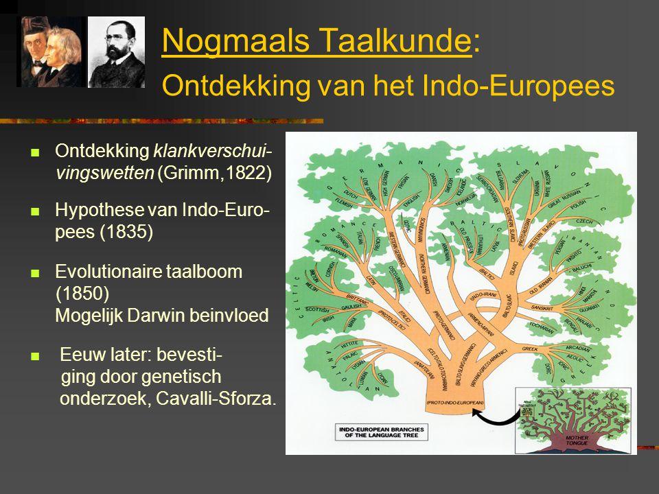 Nogmaals Taalkunde: Ontdekking van het Indo-Europees Ontdekking klankverschui- vingswetten (Grimm,1822) Hypothese van Indo-Euro- pees (1835) Evolution
