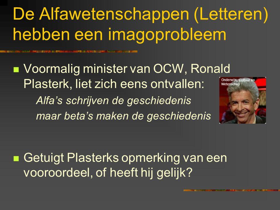 De Alfawetenschappen (Letteren) hebben een imagoprobleem Voormalig minister van OCW, Ronald Plasterk, liet zich eens ontvallen: Alfa's schrijven de ge