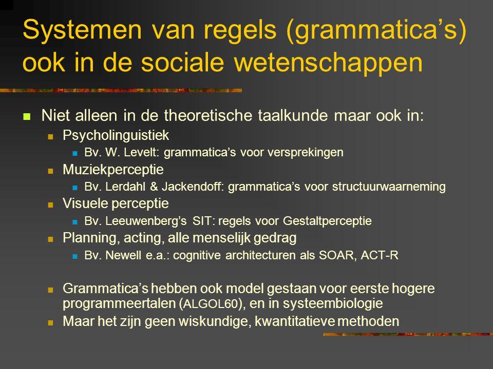 Systemen van regels (grammatica's) ook in de sociale wetenschappen Niet alleen in de theoretische taalkunde maar ook in: Psycholinguistiek Bv.