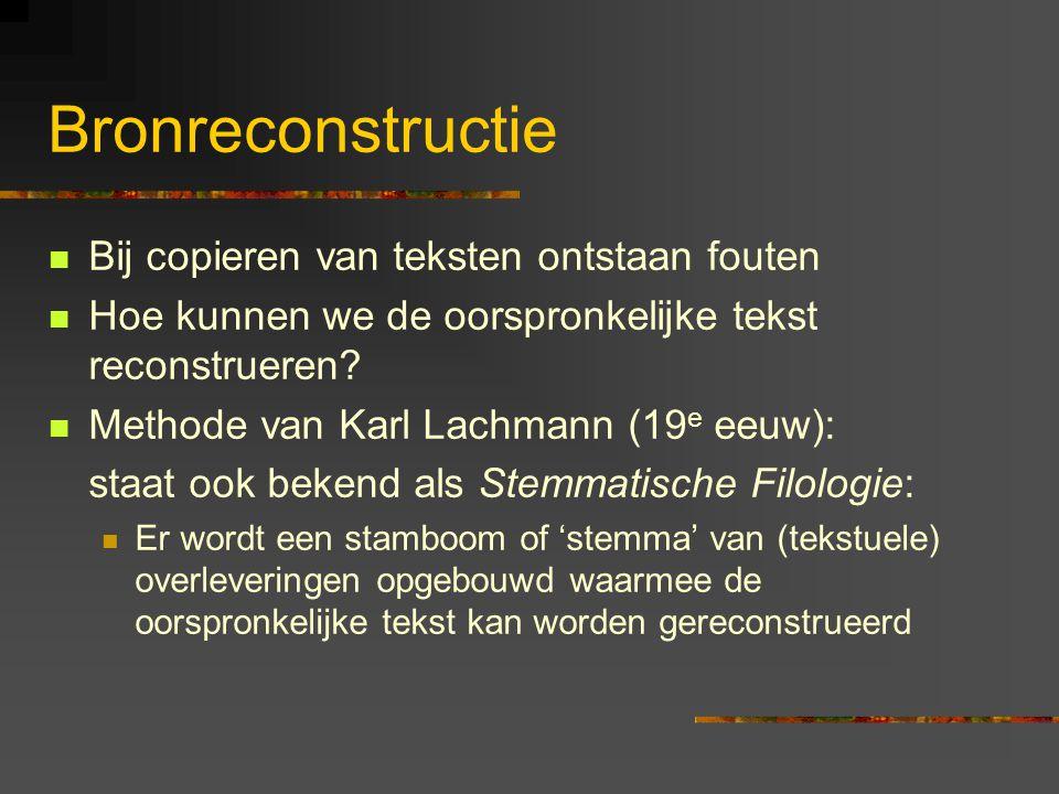 Bronreconstructie Bij copieren van teksten ontstaan fouten Hoe kunnen we de oorspronkelijke tekst reconstrueren.