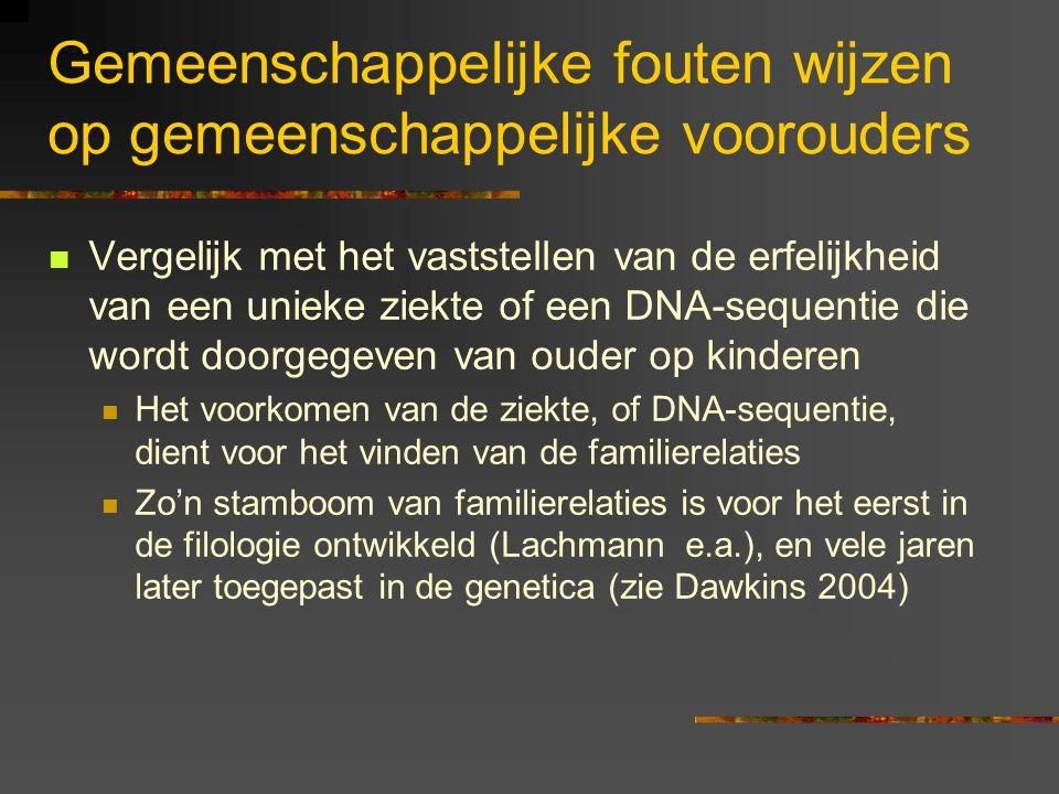 Gemeenschappelijke fouten wijzen op gemeenschappelijke voorouders Vergelijk met het vaststellen van de erfelijkheid van een unieke ziekte of een DNA-sequentie die wordt doorgegeven van ouder op kinderen Het voorkomen van de ziekte, of DNA-sequentie, dient voor het vinden van de familierelaties Zo'n stamboom van familierelaties is voor het eerst in de filologie ontwikkeld (Lachmann e.a.), en vele jaren later toegepast in de genetica (zie Dawkins 2004)