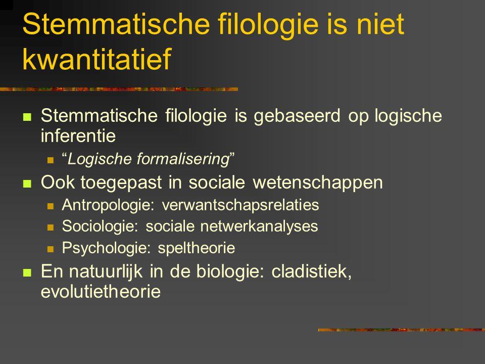 Stemmatische filologie is niet kwantitatief Stemmatische filologie is gebaseerd op logische inferentie Logische formalisering Ook toegepast in sociale wetenschappen Antropologie: verwantschapsrelaties Sociologie: sociale netwerkanalyses Psychologie: speltheorie En natuurlijk in de biologie: cladistiek, evolutietheorie