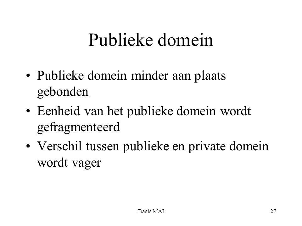 Basis MAI27 Publieke domein Publieke domein minder aan plaats gebonden Eenheid van het publieke domein wordt gefragmenteerd Verschil tussen publieke en private domein wordt vager
