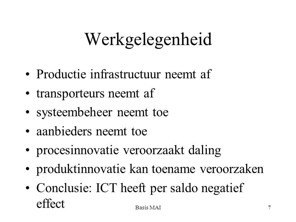 Basis MAI8 Soort werk en klassenstructuur Bezit productiemiddelen: ICT brengt meer mogelijkheden voor kleine bedrijven, maar hun positie is niet altijd sterk Bezit van organisatie: middenkader verdijnt of wordt vervangen door technisch personeel: kloof tussen functiegroepen wordt groter