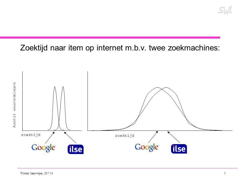Wouter Jansweijer, 26/7/14 6 Betrouwbaar(der) meten door: Herhaald waarnemen (of bij veel testpersonen) en dan: –Bereken een centrummaat.