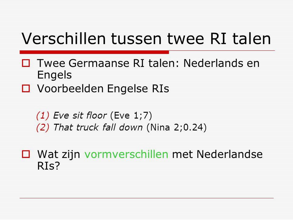 Verschillen tussen twee RI talen  Twee Germaanse RI talen: Nederlands en Engels  Voorbeelden Engelse RIs (1) Eve sit floor (Eve 1;7) (2) That truck