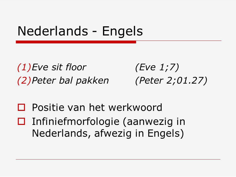 Nederlands - Engels (1)Eve sit floor(Eve 1;7) (2)Peter bal pakken(Peter 2;01.27)  Positie van het werkwoord  Infiniefmorfologie (aanwezig in Nederla