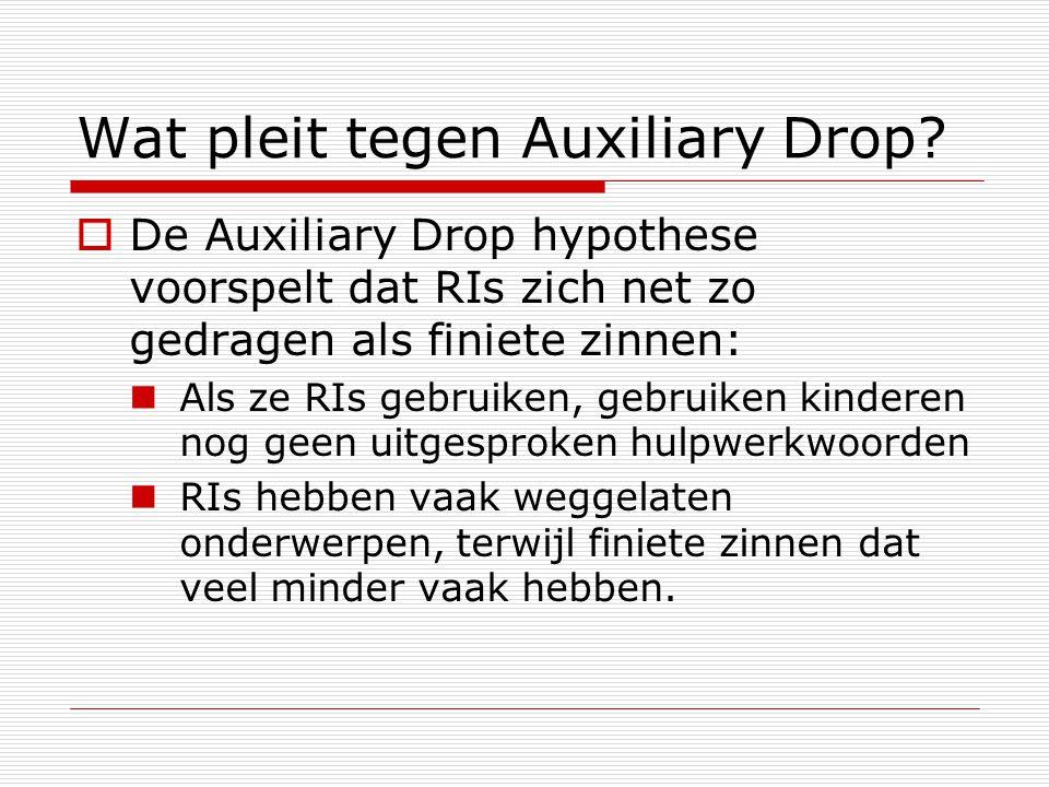 Wat pleit tegen Auxiliary Drop?  De Auxiliary Drop hypothese voorspelt dat RIs zich net zo gedragen als finiete zinnen: Als ze RIs gebruiken, gebruik
