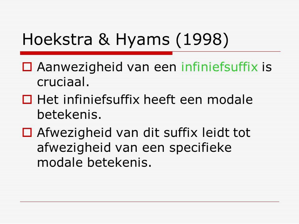 Hoekstra & Hyams (1998)  Aanwezigheid van een infiniefsuffix is cruciaal.  Het infiniefsuffix heeft een modale betekenis.  Afwezigheid van dit suff