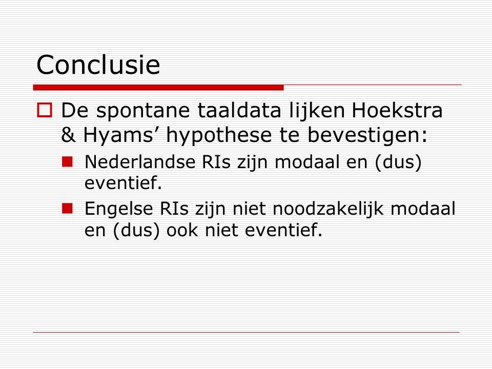 Conclusie  De spontane taaldata lijken Hoekstra & Hyams' hypothese te bevestigen: Nederlandse RIs zijn modaal en (dus) eventief. Engelse RIs zijn nie