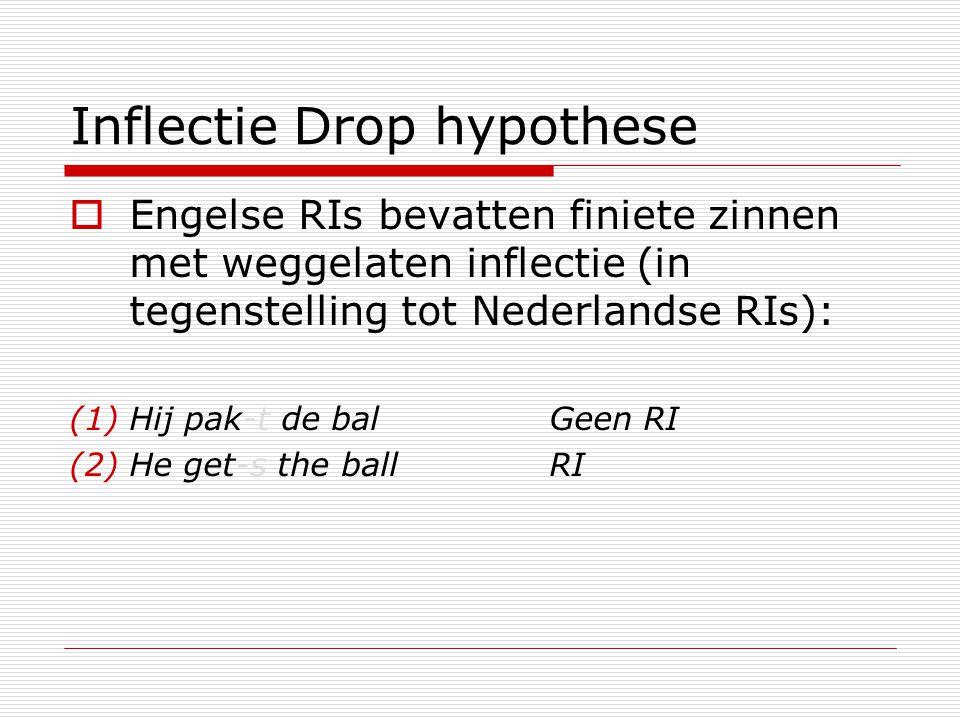 Inflectie Drop hypothese  Engelse RIs bevatten finiete zinnen met weggelaten inflectie (in tegenstelling tot Nederlandse RIs): (1)Hij pak-t de balGee