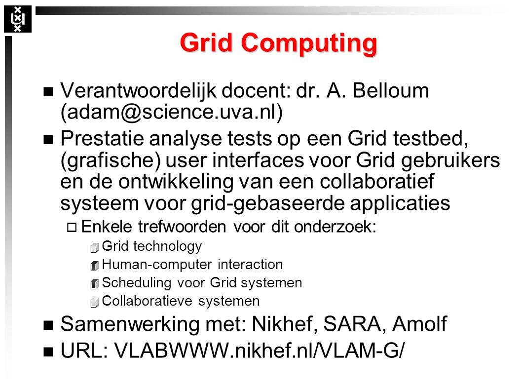 Grid Computing n Verantwoordelijk docent: dr. A.