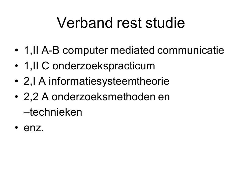 Verband rest studie 1,II A-B computer mediated communicatie 1,II C onderzoekspracticum 2,I A informatiesysteemtheorie 2,2 A onderzoeksmethoden en –tec