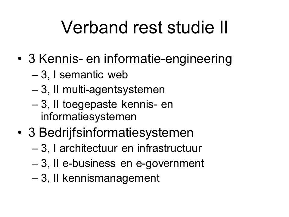 Verband rest studie II 3 Kennis- en informatie-engineering –3, I semantic web –3, II multi-agentsystemen –3, II toegepaste kennis- en informatiesystem