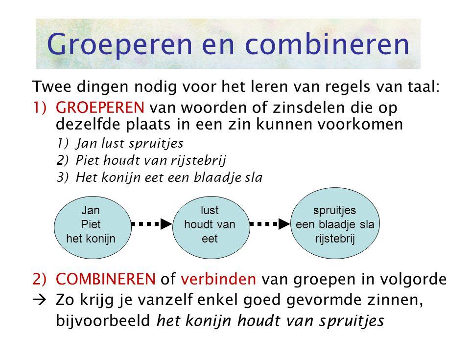 Groeperen en combineren Twee dingen nodig voor het leren van regels van taal: 1)GROEPEREN van woorden of zinsdelen die op dezelfde plaats in een zin k