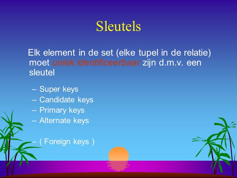 Sleutels Elk element in de set (elke tupel in de relatie) moet uniek identificeerbaar zijn d.m.v. een sleutel –Super keys –Candidate keys –Primary key