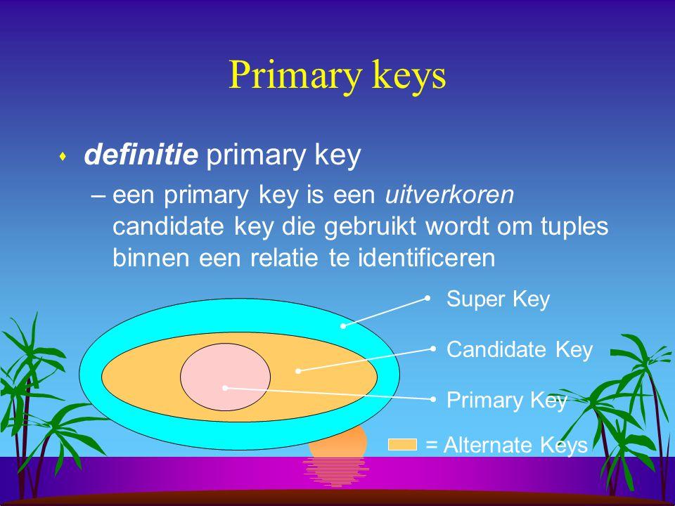 Primary keys s definitie primary key –een primary key is een uitverkoren candidate key die gebruikt wordt om tuples binnen een relatie te identificere