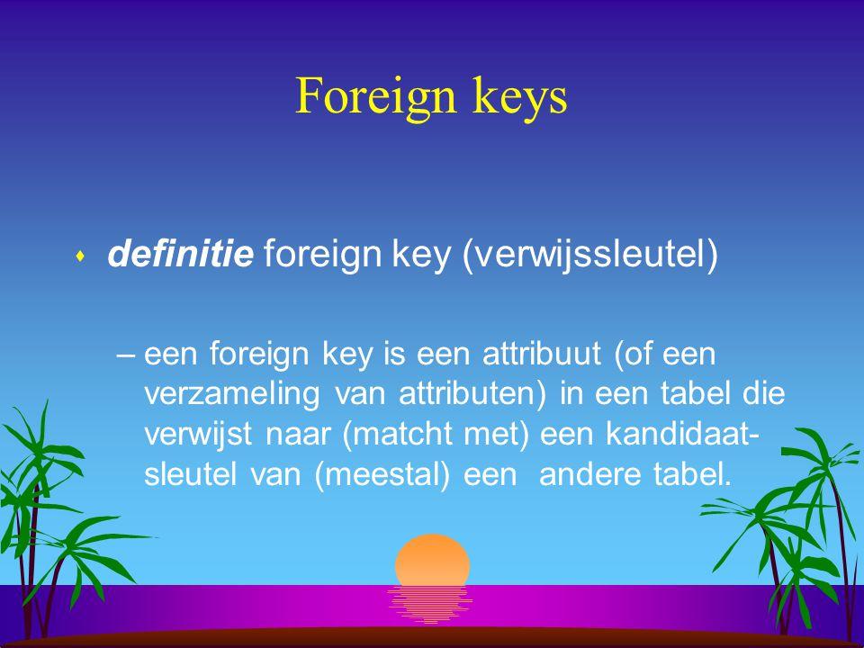 Foreign keys s definitie foreign key (verwijssleutel) –een foreign key is een attribuut (of een verzameling van attributen) in een tabel die verwijst