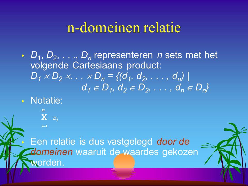 n-domeinen relatie  D 1, D 2,..., D n representeren n sets met het volgende Cartesiaans product: D 1  D 2 ...  D n = {(d 1, d 2,..., d n ) | d 1 