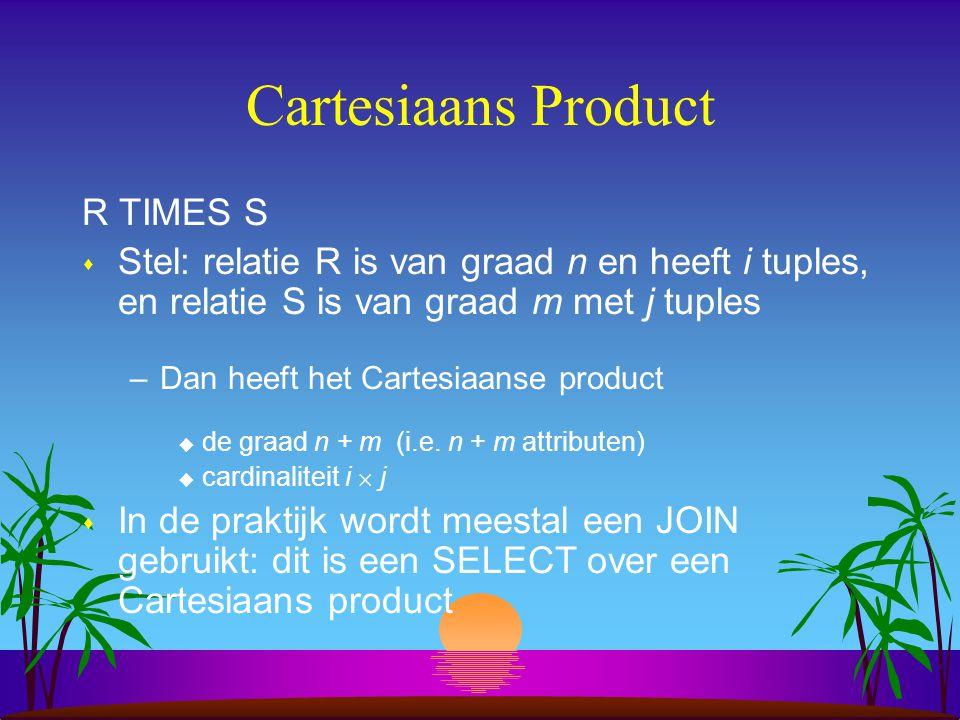 Cartesiaans Product R TIMES S s Stel: relatie R is van graad n en heeft i tuples, en relatie S is van graad m met j tuples –Dan heeft het Cartesiaanse
