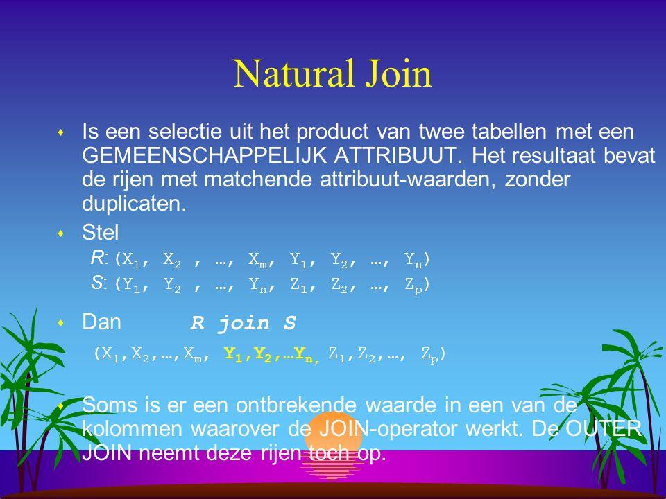 Natural Join s Is een selectie uit het product van twee tabellen met een GEMEENSCHAPPELIJK ATTRIBUUT. Het resultaat bevat de rijen met matchende attri