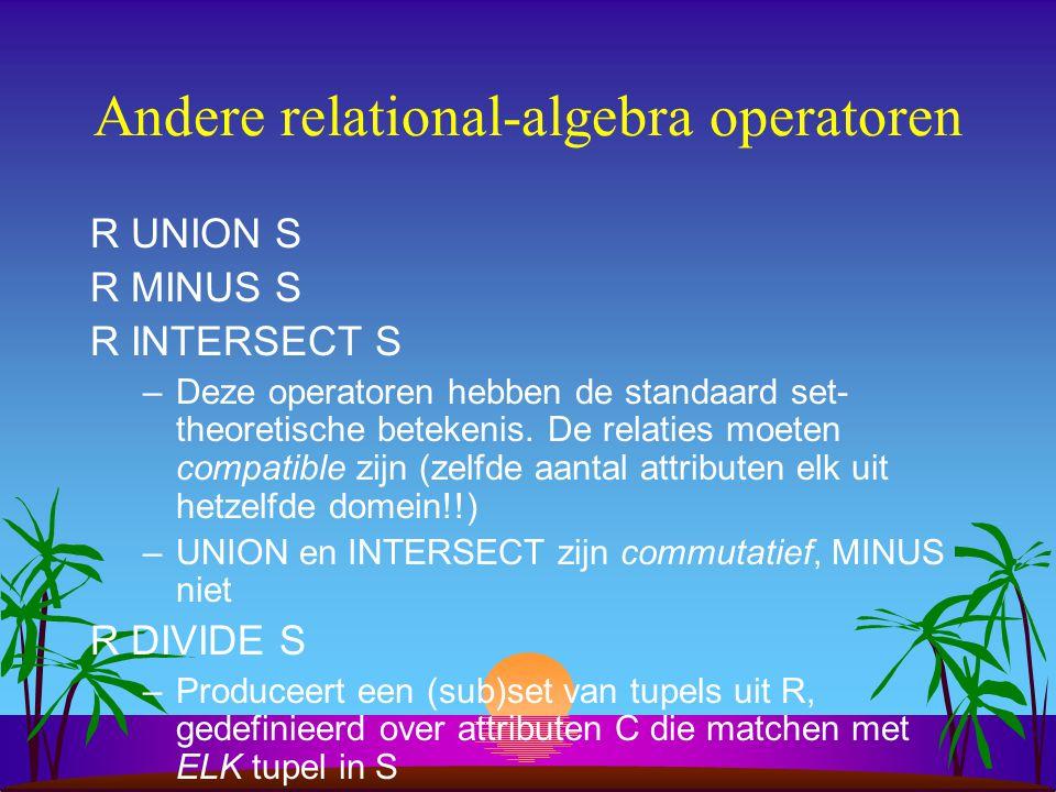 Andere relational-algebra operatoren R UNION S R MINUS S R INTERSECT S –Deze operatoren hebben de standaard set- theoretische betekenis. De relaties m