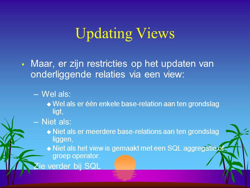 Updating Views s Maar, er zijn restricties op het updaten van onderliggende relaties via een view: –Wel als: u Wel als er één enkele base-relation aan