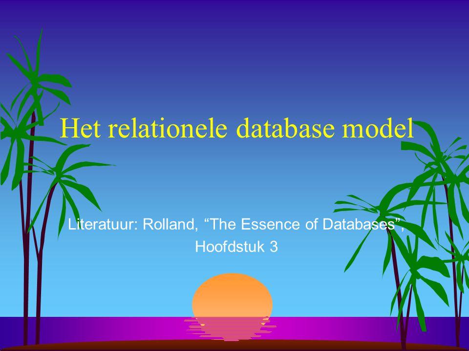 """Het relationele database model Literatuur: Rolland, """"The Essence of Databases"""", Hoofdstuk 3"""